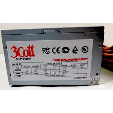 Блок питания 500W 3Cott 3C-ATX500W, v.2.3, 500Вт, 20+4P, 1xP8 (4+4), 2x SATA, 2xIDE, 1x(P6+2) 1, OEM