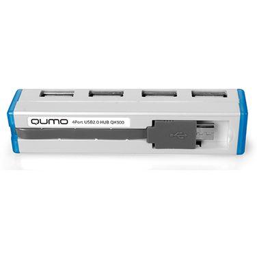 Хаб Qumo QH300,white, 4 x USB 2.0, интерфейс Micro USB (OTG) + переходник на USB (связь с ПК)