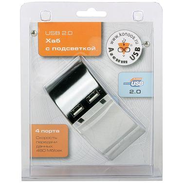 Хаб USB KONOOS UK-19, 4 порта USB, с подсветкой
