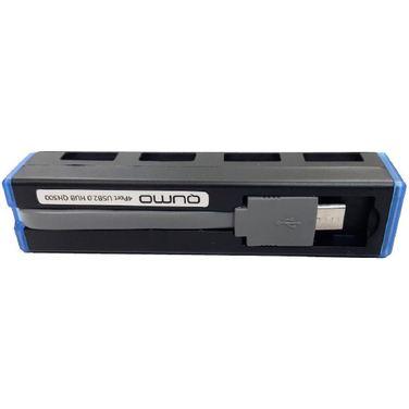 Хаб Qumo QH300, Black, 4 x USB 2.0, интерфейс Micro USB (OTG) + переходник на USB (связь с ПК)