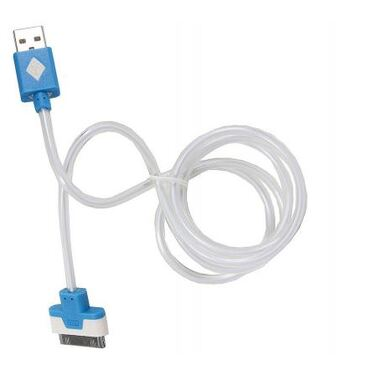 Кабель Lightning -> USB 1м, 3Cott 3C-CLDC-064BBL-IP4, Apple 30-pin Lightning MFI с подсветкой