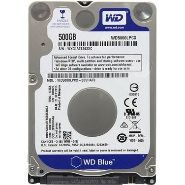 "Жесткий диск 2.5"" 500Gb SATA-III Western Digital Blue WD5000LPCX 5400rpm, 16Mb"
