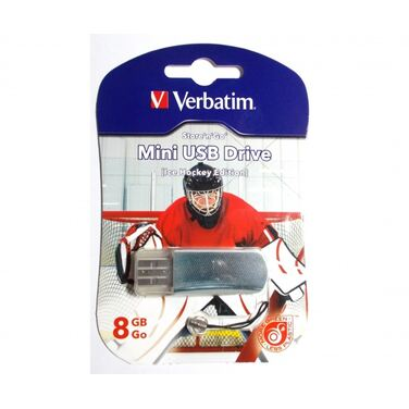Память Flash Drive 8Gb Verbatim Mini Ice Hockey Edition, USB 2.0, хоккей (49878)