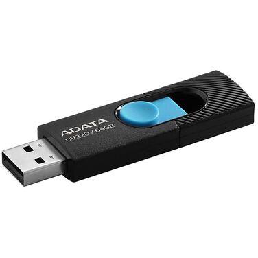 Память Flash Drive 64Gb A-Data DashDrive UV320, черный/голубой USB3.1 (AUV320-64G-RBKBL)