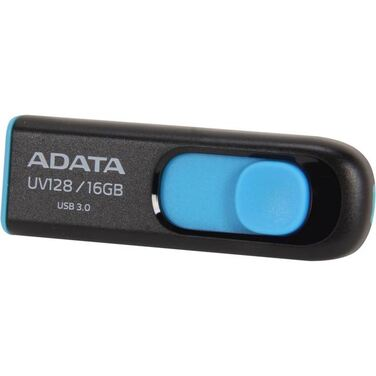 Память Flash Drive 16Gb ADATA UV128 black+blue, USB 3.0 (AUV128-16G-RBE)