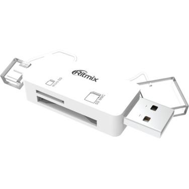 Картридер Ritmix CR-2043G белый SD/micro SD+OTG microUSB, SD, microSD, Plug-n-Play, питание от USB/m