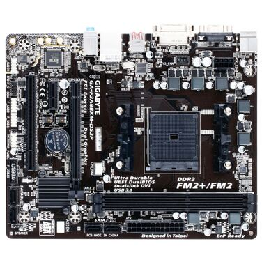 Материнская плата Soc-FM2+ Gigabyte GA-F2A88XM-DS2P rev1.0 AMD A88X/PCI-E/Dsub/DVI/GbLAN/SATA RAID/M