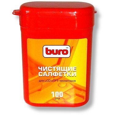 Туба малая с чистящими салфетками BURO, для LCD, TFT-мониторов, 100 шт (BU-TFT)