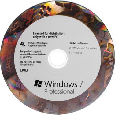 Программное обеспечение Microsoft Windows 7 Professional 32-bit SP1 Установочный диск